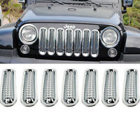 7Pcs Front Car Grill Cover Mesh Grille Insert Kit For Jeep Wrangler JK 2007-2016
