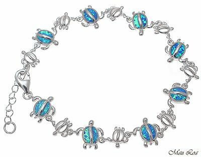 925 Sterlingsilber Rhodium Hawaiischer Meeresschildkröte Honu Blau Opal Armband We Have Won Praise From Customers Jewelry & Watches