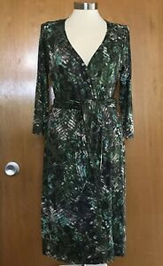 Worth New York Womens Wrap Dress 10 Stretch Jersey Green Brown V Neck Career