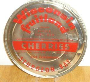 Vintage Wisconsin Fruitland Cherries Tin / Metal Can Lid Sturgeon Bay (Lid Only)