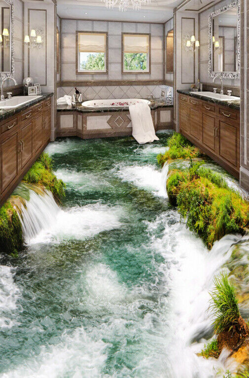 3D White River Water 78 Floor WallPaper Murals Wall Print Decal AJ WALLPAPER US