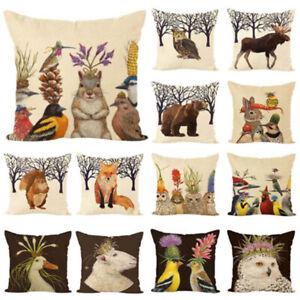 Linen-Rabbit-Duck-Bird-Owl-Pillow-Case-Cushion-Cover-Sofa-Bed-Car-Decor-Wide