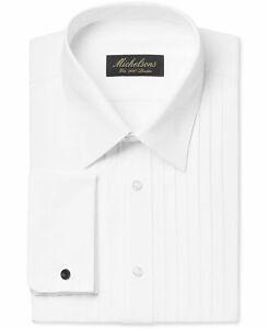 232-Michelsons-15-32-33-Men-039-S-Classic-Fit-French-Cuff-White-Tuxedo-Dress-Shirt