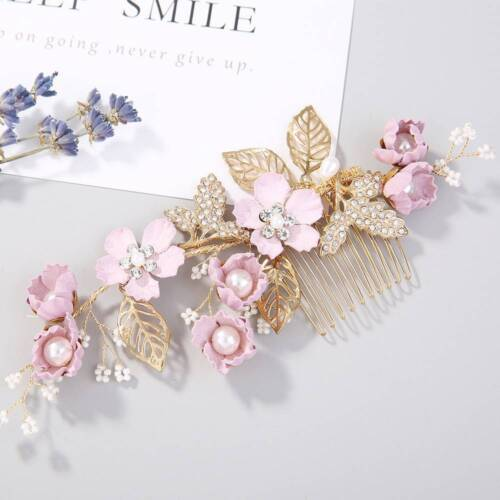 Fashion Wedding Bridal Pearl Flower Crystal Hair Pins Side Bobby Pin Clips Comb
