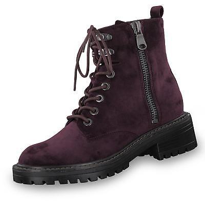 s.Oliver Damen Boots Stiefeletten Schnürstiefeletten aus Samt-Material Schuhe