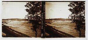 Francia Martigues c1910 Foto Placca Da Lente Stereo Vintage