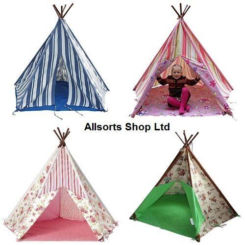 Tobs Wigwam Teepee Tent. Cowboy, Floral, Fairy Pink Stripe. Base Sheet & Window