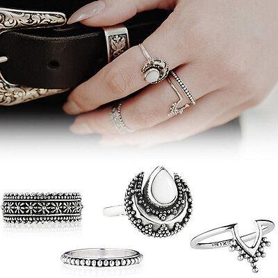 4 PCS New Silver Punk Vintage Ring Womens Retro Finger Rings Set Boho Style abus