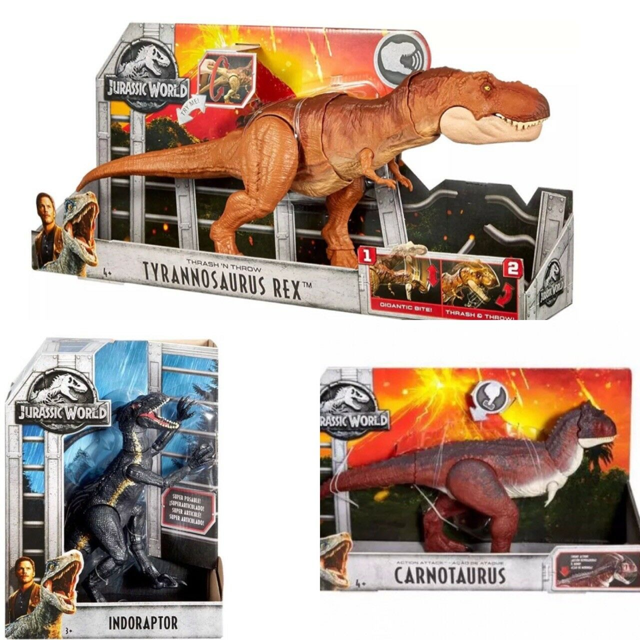 Jurassic World Thrash 'n Throw Tyrannosaurus T-Rex ,indoraptor & carnotaurus Lot