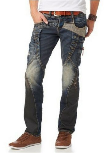 Cipo /& Baxx c1088 Jeans Uomo w32-w38 l34 NUOVO Straight cut pantaloni denim blu used