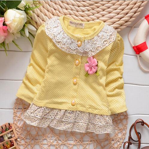 Newborn Baby Girl Fashion Clothing Lace Flowers Cute Dot Cotton Cardigan Jacket