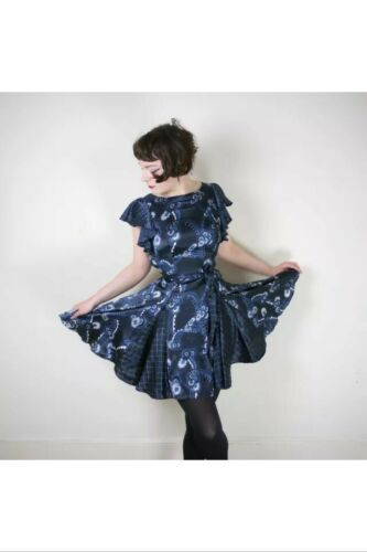CELIA BIRTWELL TOPSHOP Blue PRINT DRESS SIZE 4 /6