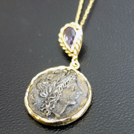 Handmade Ancient Roman Coin Necklace W/ Amethyst Gold  Over 925K Sterling Silver