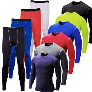 Men-Compression-Thermal-Base-Layer-Tights-T-Shirt-Top-Long-Pants-Gym-Activewear