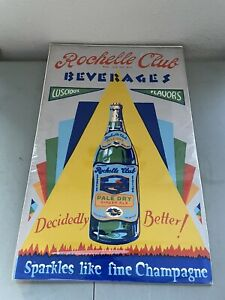 Vintage Rochelle Beverages Pale Dry Ginger Ale Poster 1940s Great Colors