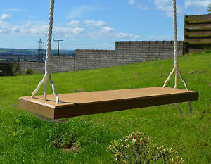 Solid wood tree swing seat with extra long rope ebay for Extra wide swing seat