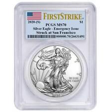 Presale - 2020 (S) $1 American Silver Eagle PCGS MS70 Emergency Issue FS Flag La