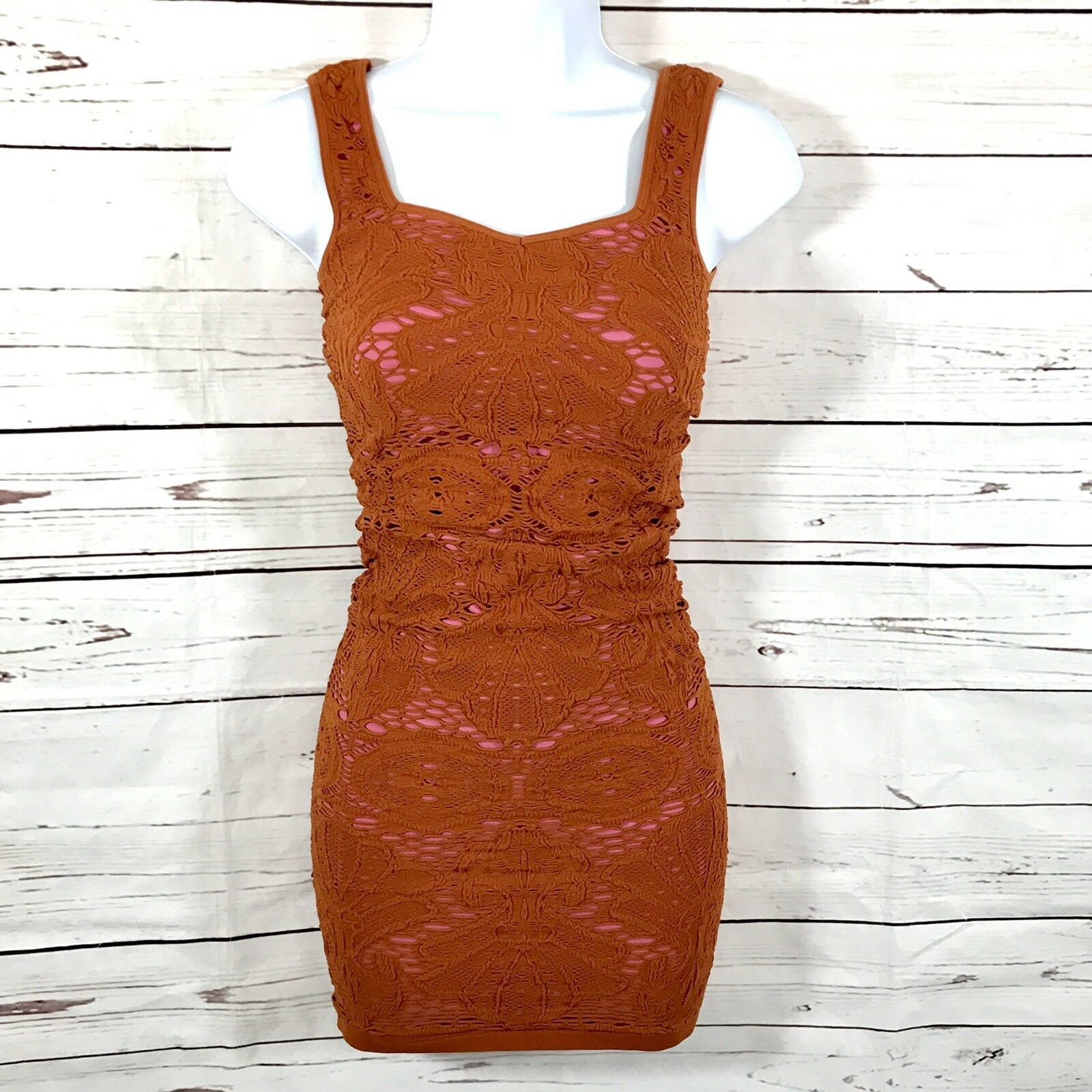 New Intimately Free People Womens Dress Brown Crochet Bodycon Size XS S