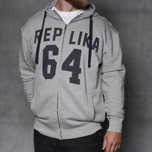 cappuccio grigio con Size Felpa 3x Replica King Jeans 475wqzOx
