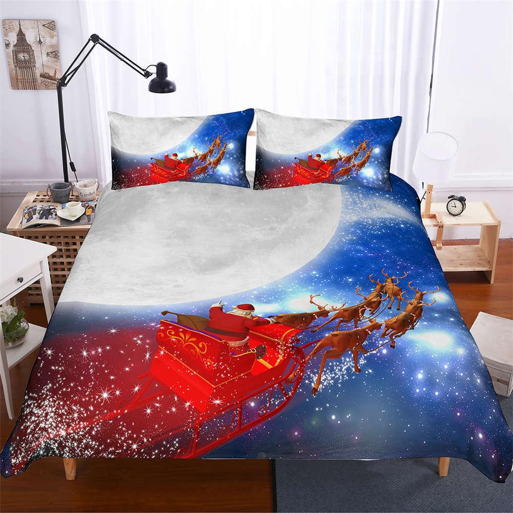 Carriage Flew Over Moon 3D Digital Drucken Bettding Duvet Quilt Startseite Pillowcase