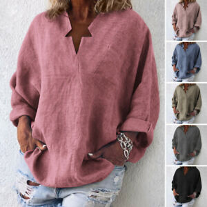 VONDA-Women-Oversized-Pullover-Tunic-Tops-Long-Sleeve-T-Shirt-Solid-Plain-Blouse