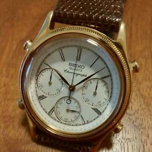 Seiko-Chronograph-Japan-Used-Quartz-Mens-Watch-Authentic-Working