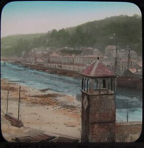Glass Magic Lantern Slide EAST LOOE FROM THE CLIFF C1890 PHOTO CORNWALL - <span itemprop=availableAtOrFrom>Cornwall, United Kingdom</span> - Returns accepted - Cornwall, United Kingdom