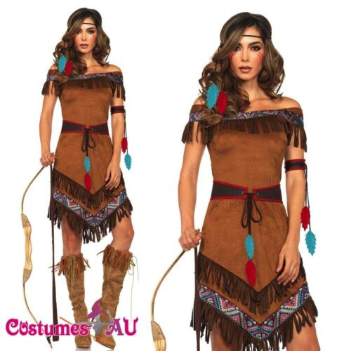 Ladies Noble Warrior Costume Native American Indian Wild West Womens Fancy Dress