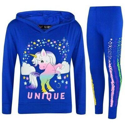 Bambine Picchiettando Unicorno Unico Cappuccio Blu Royal Top Legging Floss Tuta