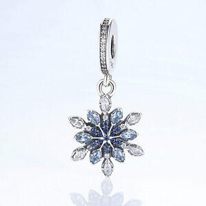 Free-shipping-S925-Sterling-Silver-Charm-and-Blue-CZ-Christmas-snowflake-Pendant