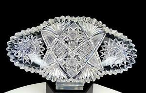 ABP-AMERICAN-BRILLIANT-PERIOD-CUT-CRYSTAL-FAN-CROSSHATCH-8-5-8-034-PICKLE-DISH-1890