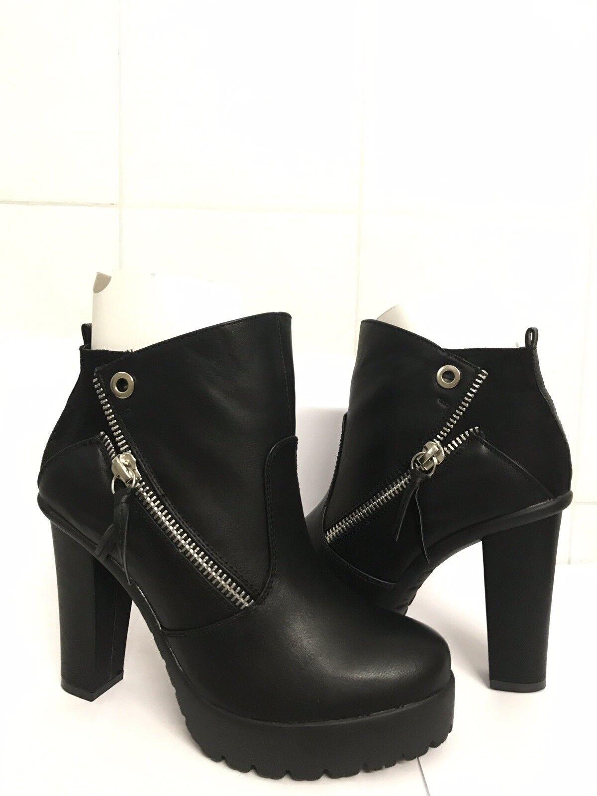 Schwarze Blockabsatz Schuhe Stiefeletten Größe 41 JustFab Neue mit karton