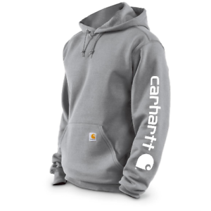 Authentic-CARHARTT-Hooded-Sweatshirt-Men-039-s-Signature-Sleeve-Logo-H-Gray-4XL-Tall