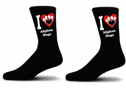 Black I love Afghan Dogs With a Paw Print Design Socks