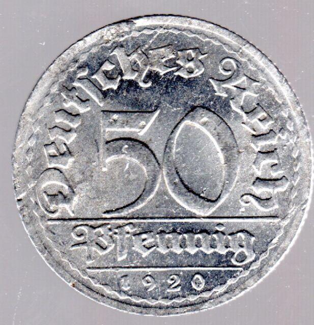 """50 Pfennig """"Sich Regen bringt Segen"""" Weimarer Republik 1920 E in gutem vz."""