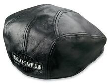 Harley Davidson Men's Nostalgic Trademark Long B&S  Leather Ivy Cap (XL) HAT