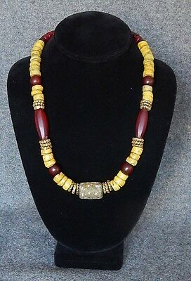 Handmade Trade Bead necklace  Mideastern & Yellow Hebron Beads Brass,Glass,Metal