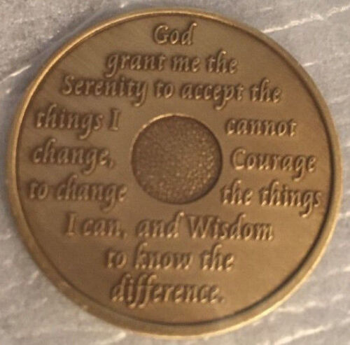 Alcoholics Anonymous 30 Year Recovery Coin Chip Medallion Medal Token AA Bronze