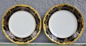 Pair-Weimar-Katharina-Bread-and-Butter-Plate-Cobalt-Blue-6-7-8-034-Gold-trim