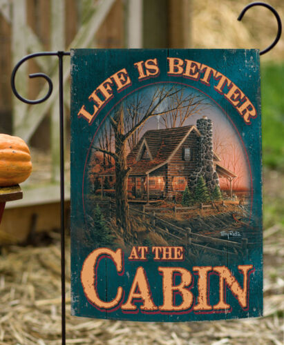 Toland Cabin Life 12.5 x 18 Fall Autumn Hunting Lodge Vacation Garden Flag