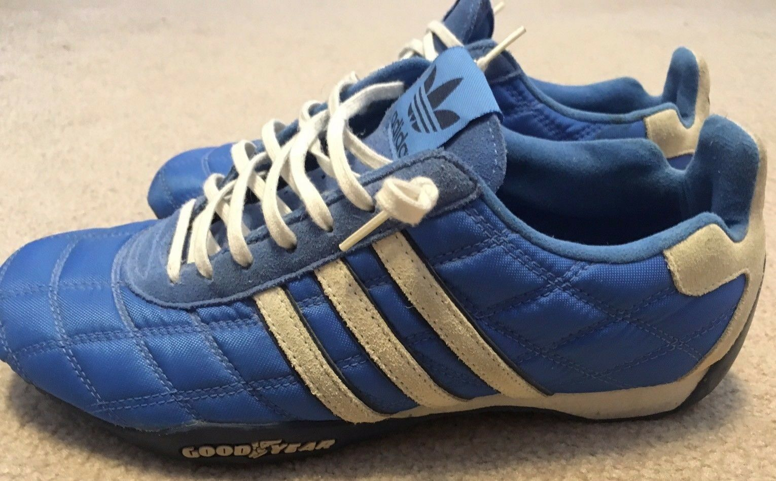 Adidas Tuscany Goodyear Driver's Racing Shoes Blue Men's 8- Rare Excellent HTF