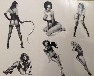Pinup Girls Retro Temporary Tattoos 6 Designs Sheet Sexy Looks Real