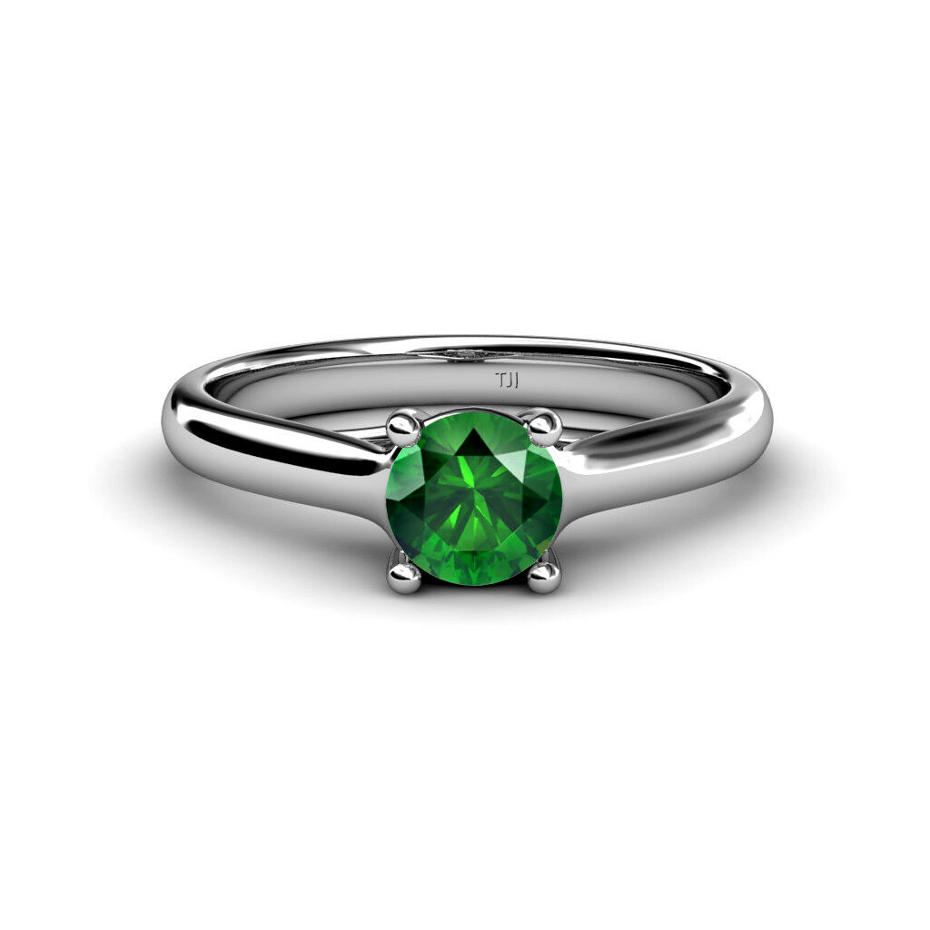 Emerald Womens Solitaire Engagement Ring 0.75 ct 14K gold JP 82645