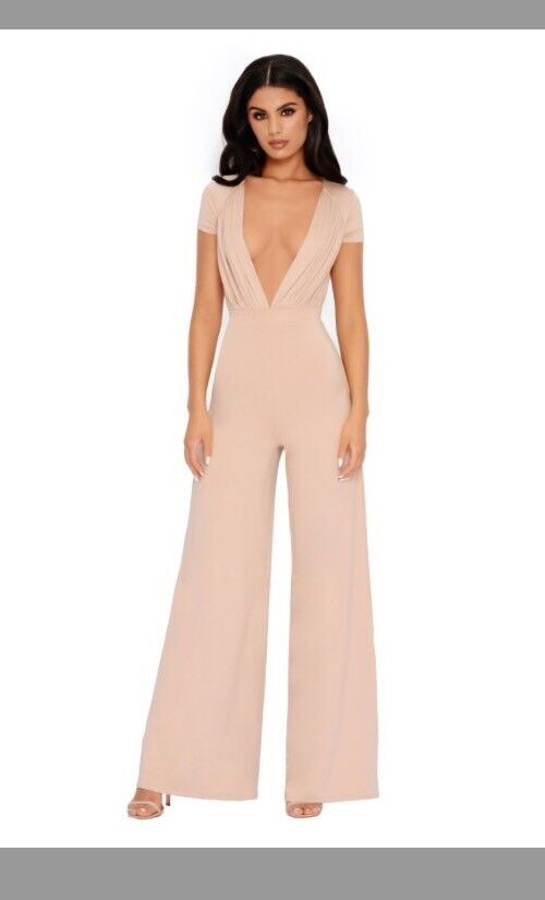 Oh Polly Sleeve It To Me Plunge Wide Leg Jumpsuit In Frauppe 8