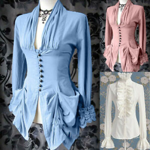 Victorian-Women-Steampunk-Long-Sleeve-Solid-Color-Vintage-Tops-Shirt-Costume