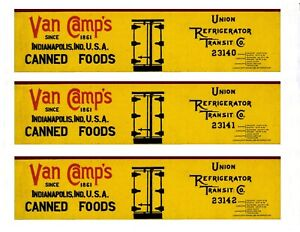 Three-more-HO-scale-URTC-boxcars-printed-reefer-sides-VAN-CAMP-039-S