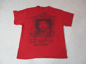 Jimi-Hendrix-Voodoo-Child-Concert-Shirt-Adult-2XL-XXL-Red-Black-Rock-Band-Mens