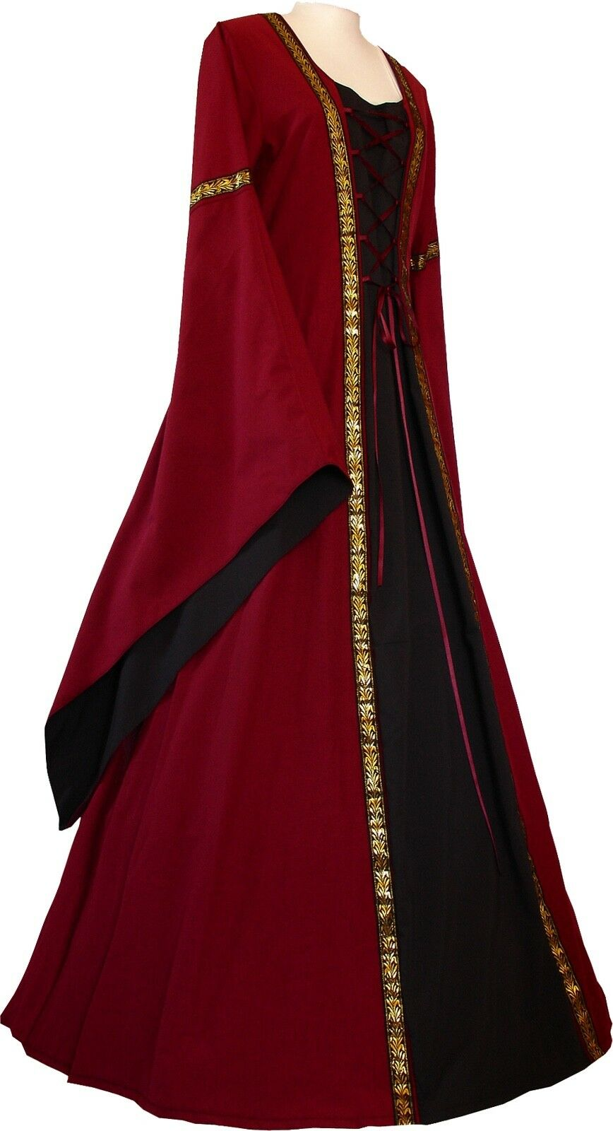Mittelalter Karneval Gothik Gewand Kleid Kleid Kleid Kostüm Robe Anna Bordeaux-Schwarz XS-60     | Sale  | Sonderpreis  | Outlet Store Online  | Grüne, neue Technologie  | Modisch  9e12b9