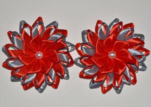 Pair of Handmade Girl/'s SCHOOL Hairbands//Bobbles,Kanzashi Red//Grey