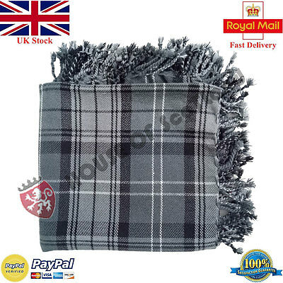 Scottish Hamilton Grey Tartan 4 Sides Purled /& Fringed Highland New Fly Plaids